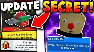 *SECRET* BUBBLE BEE MAN NPC & NEW FESTIVE BEE! - Roblox Bee Swarm Simulator (Christmas Update)