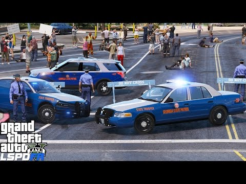 GTA 5 LSPDFR Police Mod 351 | Georgia State Patrol Vs Upset Protesters | Does Not End Well