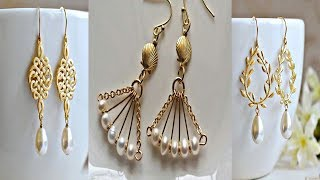 Gold Earrings Desine With White Moti||Pearl Earrings||Gold Earrings design.
