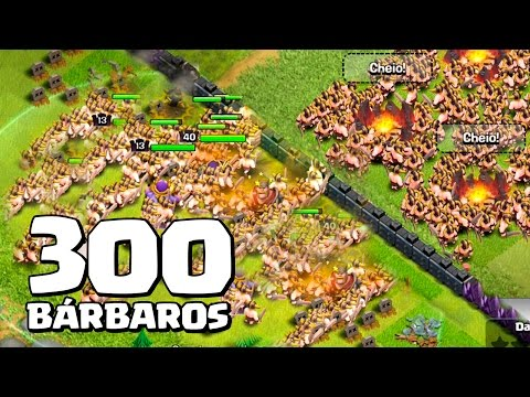 ATACANDO COM 300 BÁRBAROS NO CLASH OF CLANS !!