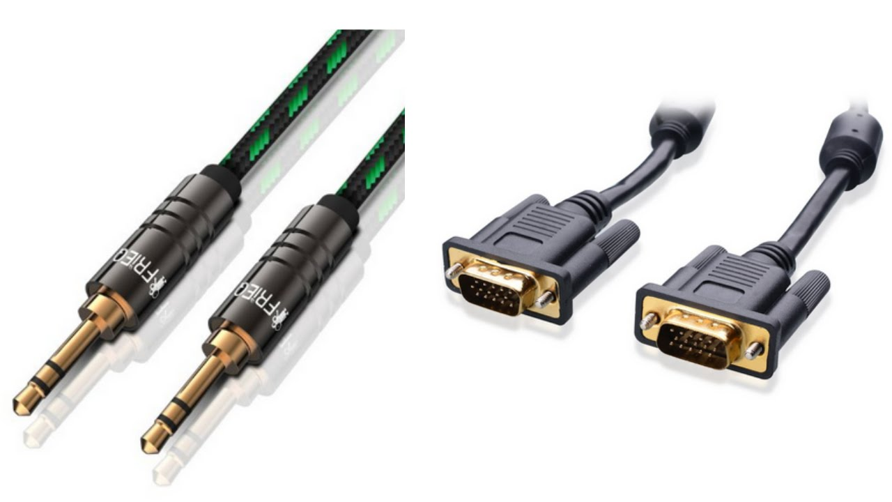 connect pc or laptop to tv vga cable for video and a 3 5mm audio cable youtube [ 1280 x 720 Pixel ]