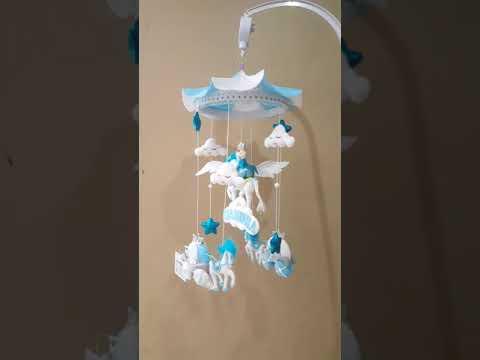 Unicorn mobile for baby crib