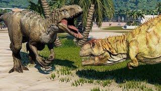 2 Giganotosaurus & 2 Indominus Rex Breakout & Fight! Jurassic World Evolution (4K 60FPS)
