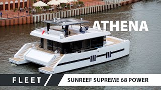 Sunreef Supreme 68 Power Catamaran Athena on the Motlawa River  in Gdansk, Poland