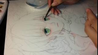 Eyes coloring with watercolor