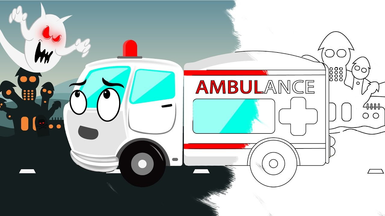 ambulance coloring book halloween scary video for kids