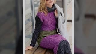 Pletena moda.Теплое зимнее стильное  вязаное платье #1