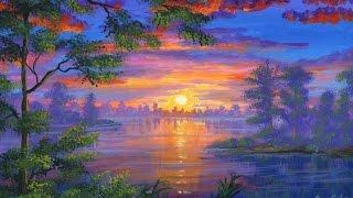 Как рисовать озеро на закате с помощью акрила на холсте