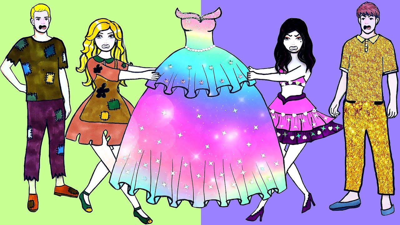 Paper Dolls Dress Up - Rainbow Skirt Magic Fish Dresses Handmade Quiet Book - Barbie Story & Crafts