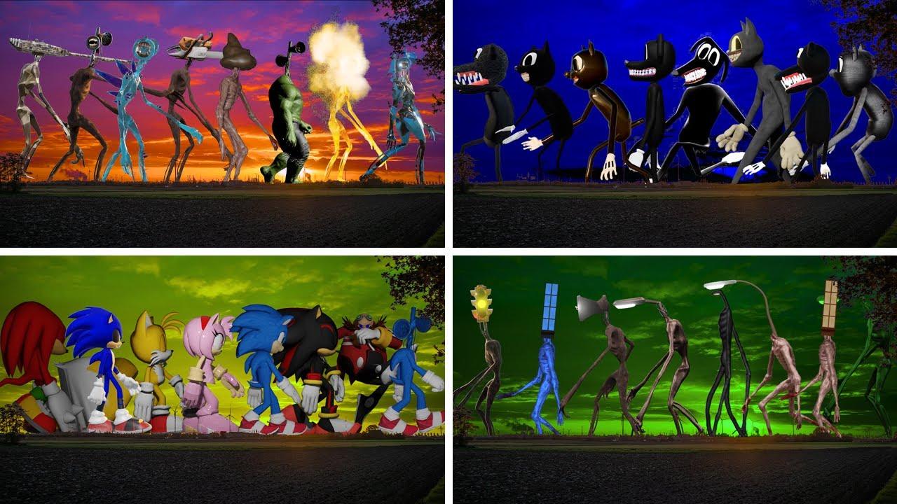 All Siren Head VS All Sonic VS All Light Head VS All Cartoon Cat & Cartoon Dog CREATURES