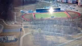 """Стадион хоккея на траве """"Дубово-спорт"""" в г. Барановичи с высоты птичьего полета."""