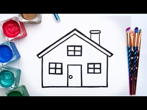 How to paint a house with acrylic paints and glitter. Painting pages for children.