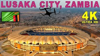 Lusaka City, Zambia By Drone. Cairo Road & National Heroes Stadium