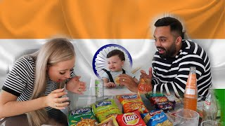 MY WIFE AND SON TRYING INDIAN SNACKS