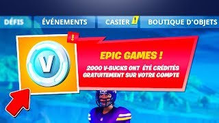 "PLAYERS ARE RECEVOIR ""2,000 V-BUCKS"" FOR FREE on FORTNITE Battle Royale! 😱 (SAISON 7)"