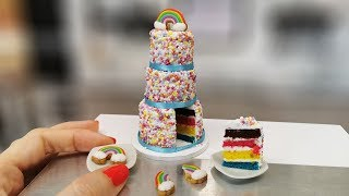 REAL, but mini colorful RAINBOW - UNICORN cake with sprinkles sugar/rainbow cookies/