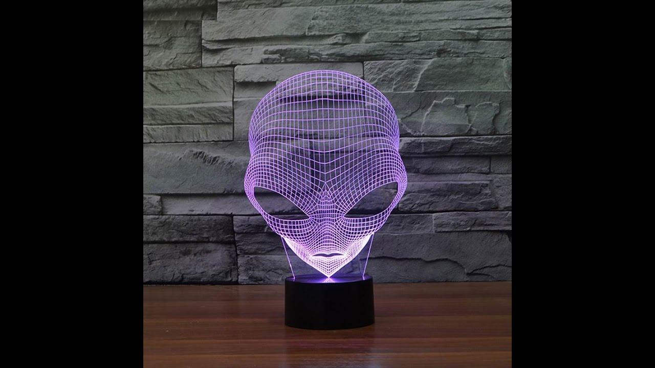 unboxing lampe led 3d alien youtube. Black Bedroom Furniture Sets. Home Design Ideas