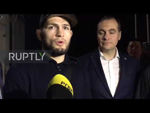 Russia: UFC Champion Khabib Nurmagomedov arrives in hometown after victory over Poirier