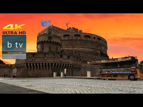 Castel Sant'Angelo, Pt.1. A brief walk: Panoramic view to Rome, in 4K