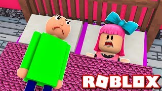 There's a BALDI's BASICS ON MY ROBLOX BED!!!