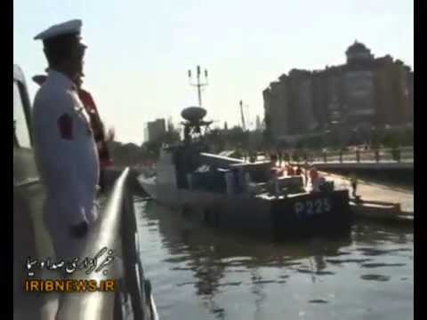 Iranian destroyers docked at Russian port in the Caspian Sea