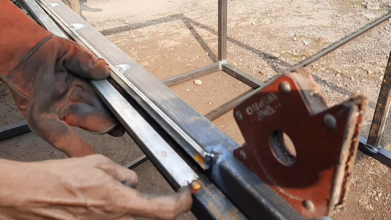 sangat mudah PINTU SLEDING teknik manual pemula  (buat etalase grobak warkop) part 2