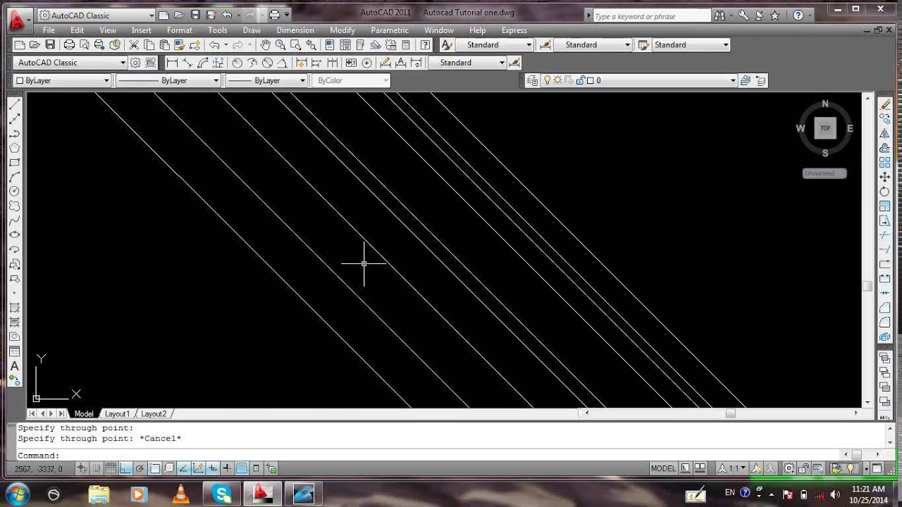 Drawing Smooth Lines In Autocad : Drawing a inclined construction line youtube