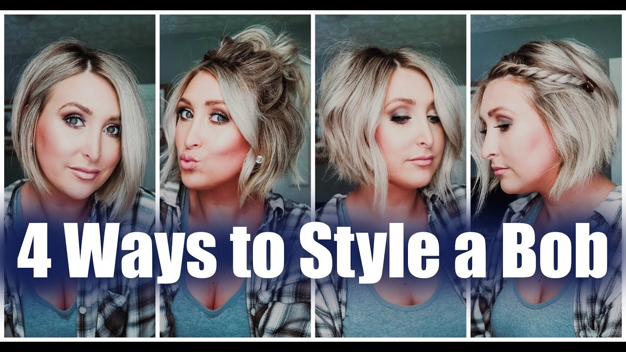 4 Ways To Style A Bob Easy Short Hair Tutorials Summer Whitfield Youtube