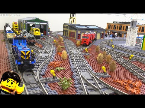 LEGO train yard & locomotive maintenance shop improvements