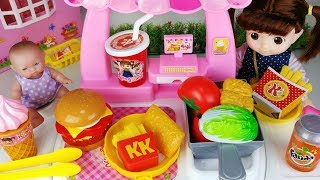 Baby doll and play doh Hamburger food cooking toys kitchen play - ToyMong TV 토이몽
