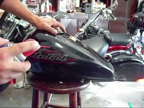 Removing clear coated stickers from a motorcycle tank youtube