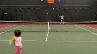 Julia 5 Years Old Playing Tennis