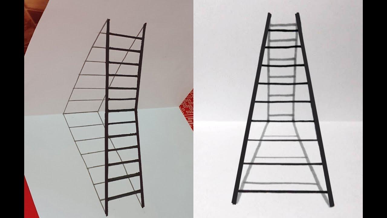 Vẽ cái thang 3D trên giấy như thế nào? – How to Draw 3D Ladder?