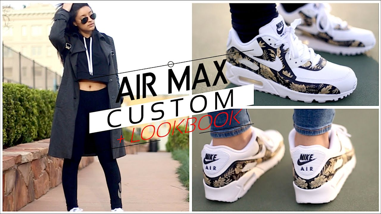 new arrivals d70da 200d4 Custom Nike Air Max 90 Tutorial + Lookbook   Speed Painting Floral  Timelapse W Angelus Paint