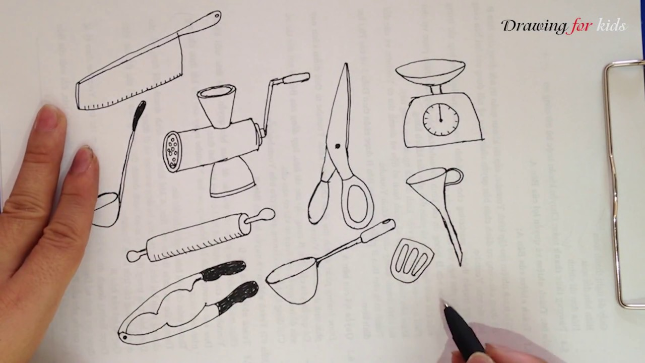 Kitchen Items - How to draw cute kitchen tools easily - YouTube