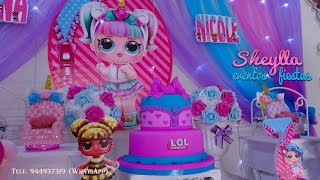 LOL, Decoración temática de fiesta Infantil, lol unicornio, niñas