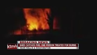 Possible explosion before shed fire