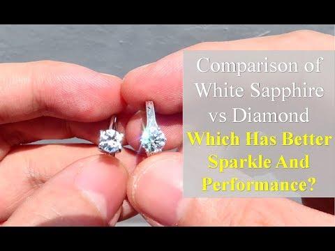 White Sapphire Vs Diamond Side By Side Comparison Youtube