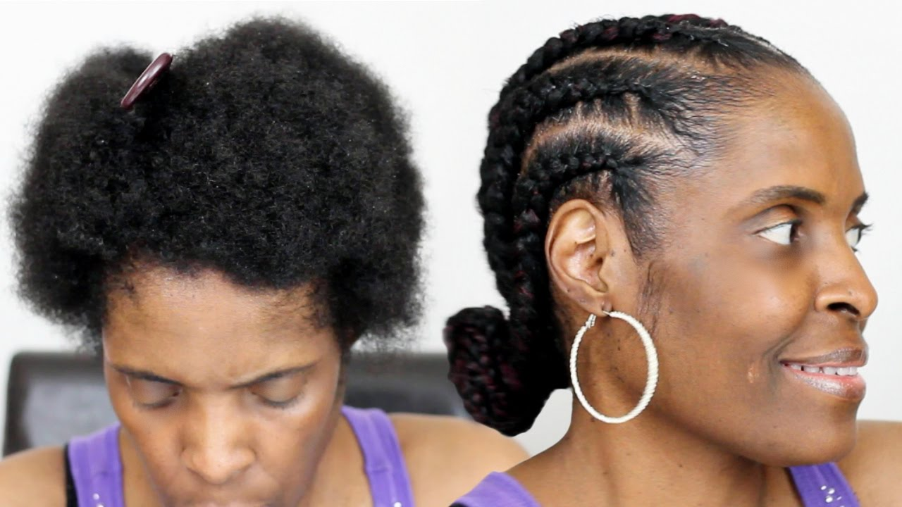 Braided Updo Styles For Natural Hair: Feed In Braids On Short Natural Hair Jumbo Cornrows On TWA