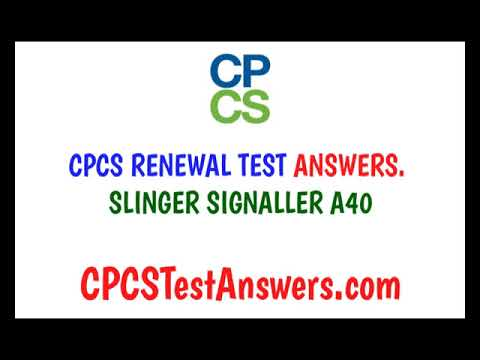 CPCS Renewal Test Answers Slinger Signaller A40 - YouTube