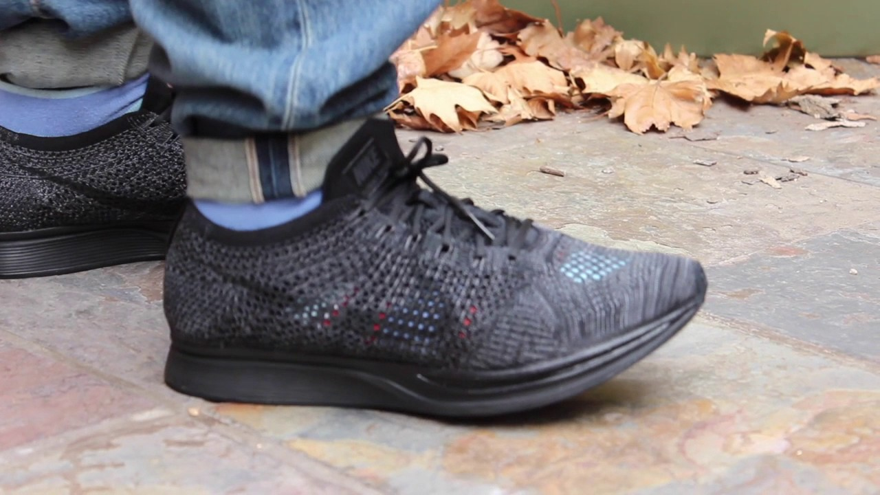 6eca1a4738214 Nike core black flyknit racer on foot - YouTube