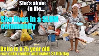 An Old Filipino Grandmother Living in Poverty in Manila Philippines. Living Alone in Poverty
