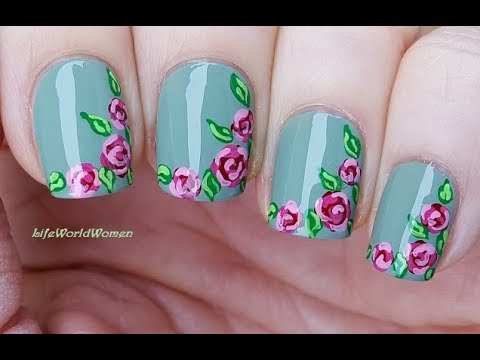Greyish Green ROMANTIC ROSE NAIL ART Using Acrylic Paint
