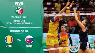 LIVE 🔴 ROU vs. SVK - Round of 16 | Girls U18 Volleyball World Champs 2021
