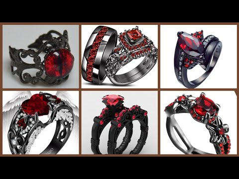 BLACK RHODIUM PLATED GOLD WITH RUBY RINGS FOR ENGAGEMENT/BLACK GOLD AND SAPPHIRE BLUE DIAMOND RINGS