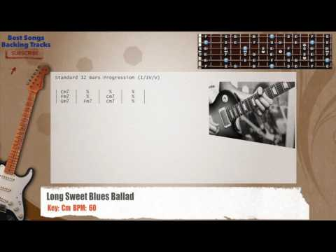 Long Sweet Blues Ballad In Cm Guitar Backing Track with chords