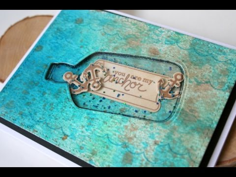 Bottle in the Ocean Shaker Card with Distress Ink Background
