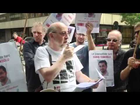 Protest in Brussels to support Turkish journalist Baris Ter