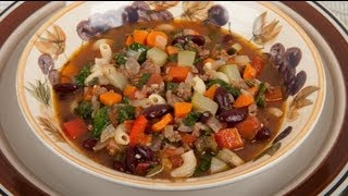 Homemade Minestrone With Pasta, Meat And Vegetables (med Diet Episode 59)