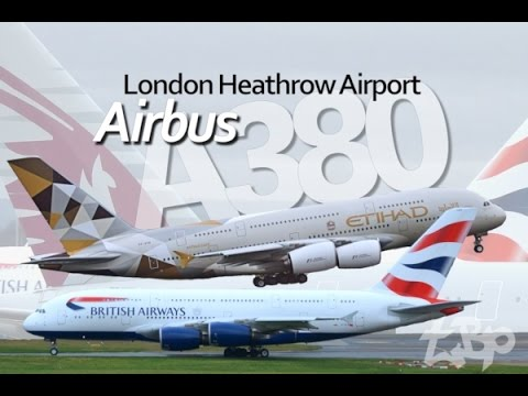 Airbus A380 Aircraft London Heathrow Airport (LHR) BA, Qantas, Emirates, Etihad, Malaysian Qatar